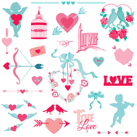 Vintage Love Elements - for Wedding and Valentines Day - in vector Vector