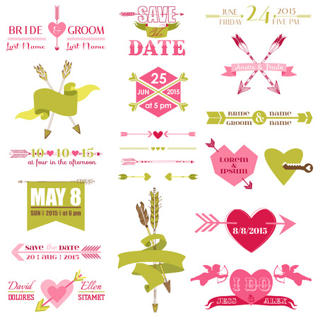 Valentine and Wedding Graphic Set - Arrows, Feathers, Heart, Ribbons and Labels  Vector