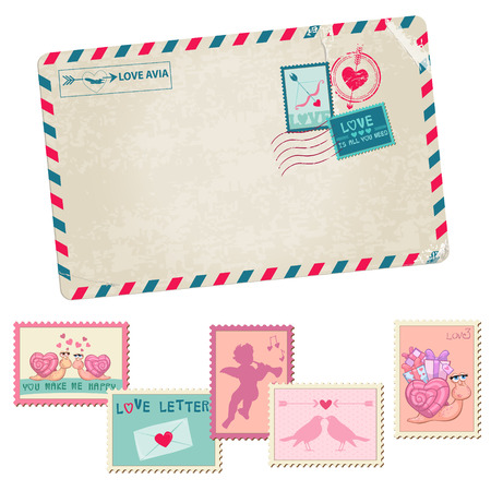 Love Letter - Vintage Postcard - with Love, Valentines, Wedding Stamps - in vector Vector