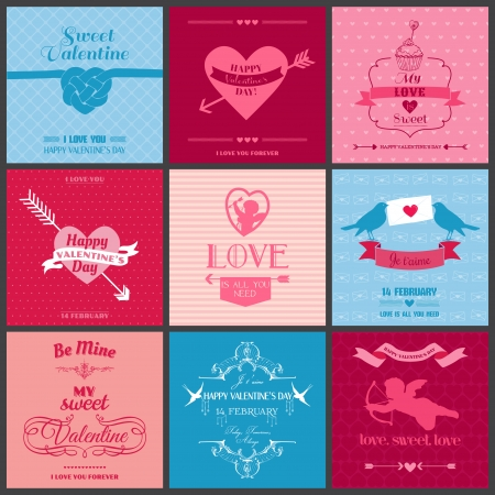 Set of Love Cards - Wedding, Valentines Day, Invitation - in vector  Vector