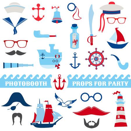 dieren: Nautische Party set - photobooth rekwisieten - glazen, hoeden, schepen, snorren, maskers - in vector Stock Illustratie