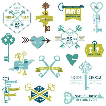 llaves: Conjunto de tarjetas de boda y guardar el tema-Fecha clave - en el vector
