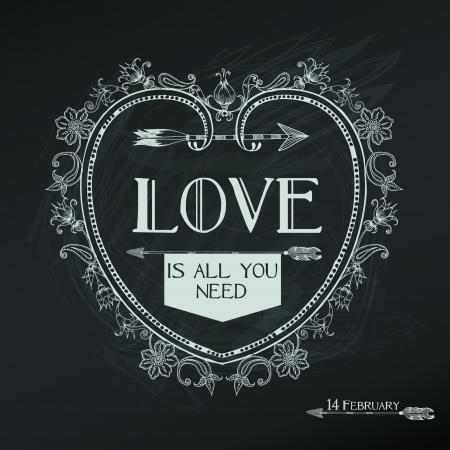 Vintage Valentines Day Card Design - love, wedding - in vector Illustration