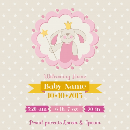 baby arrival: Baby Shower or Arrival Card - Baby Bunny Girl - in vector