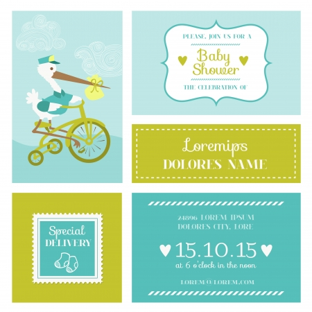 newborn baby mother: Baby Shower or Arrival Card with Stork - in vector Illustration