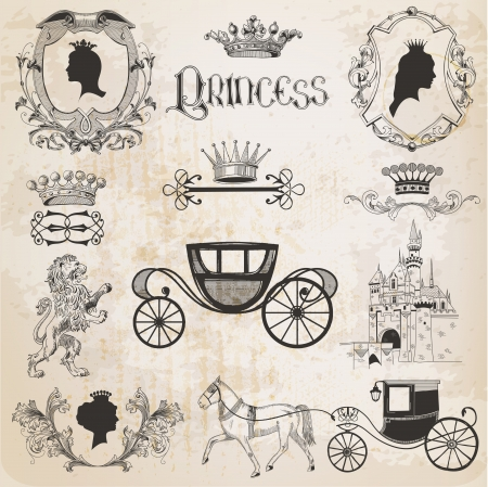 Vintage Princess Girl Set - for design and scrapbook - in vector Vector