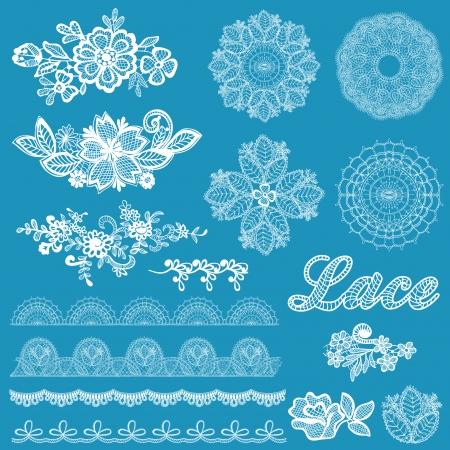 Set of lace, ribbons, flowers - for design and scrapbook - in vector Vector