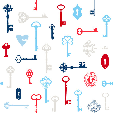 antique keys: Antique Keys Background - for your design or scrapbook - in vector