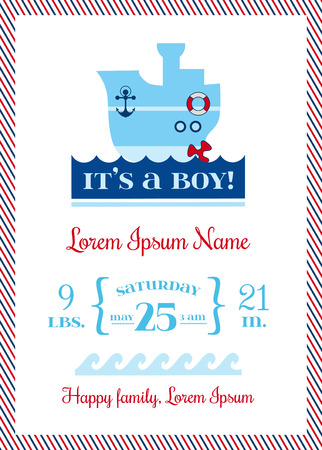 Baby Arrival Nautical Cards - for design and scrapbook - in vector Vector