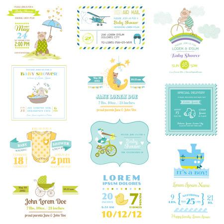 invitacion baby shower: Conjunto de ducha y beb� de la llegada de felicitaci�n - para el dise�o y bloc de notas en el vector - Vectores