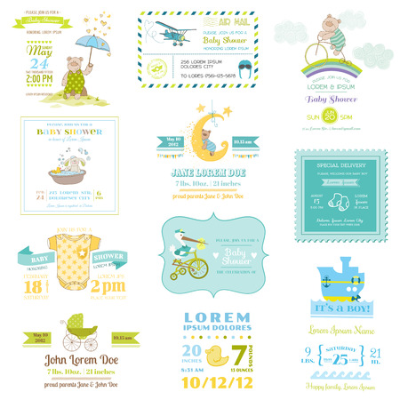 Set of Baby Shower and Arrival Cards - for design and scrapbook - in vector Vector