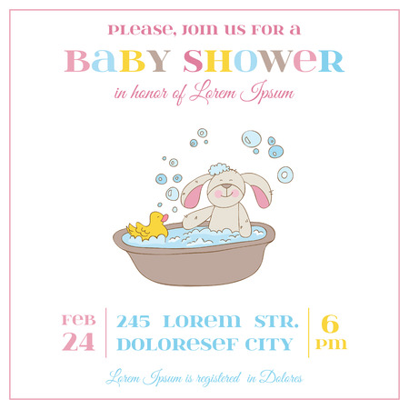 baby bath: Baby Shower or Arrival Card - Baby Bunny Girl - in vector
