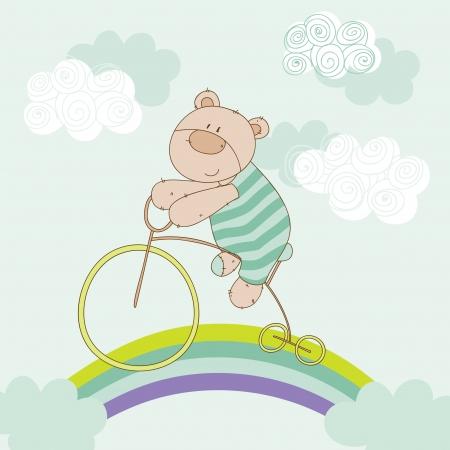 baby bear: Baby Bear Riding Bike - Baby Shower Card - in vector