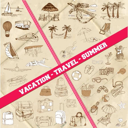 Set of Travel, Summer and Vacation Theme - hand drawn  Vector