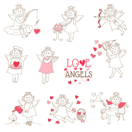Set of cute Angels and Cupids - Love, Wedding, Valentines Theme Vector