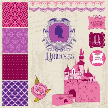 Scrapbook Design Elements - Princess Girl Birthday Set Vector