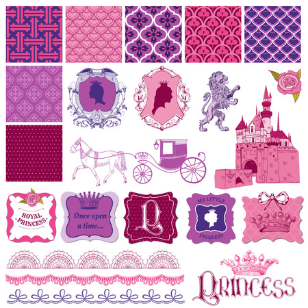 conjunto: Scrapbook Design Elements - Princess Girl Birthday Set