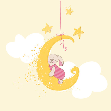 Baby Shower or Arrival Card - Sleeping Baby Bunny