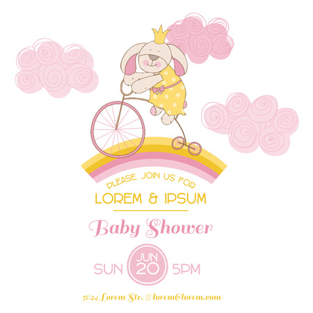 Baby Shower Card - with Baby Bunny and Bike Vector