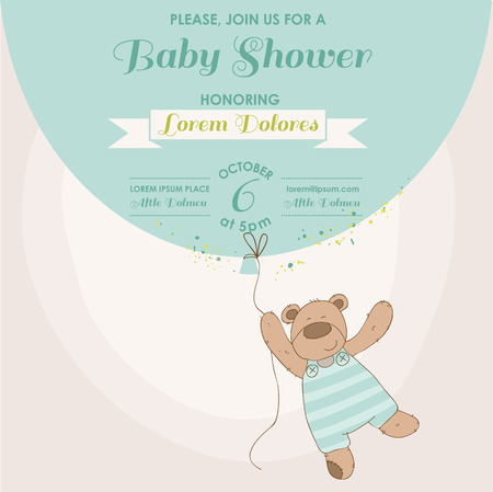 Baby Shower or Arrival Card - Baby Bunny with Balloon Vector