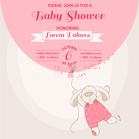 Baby Shower or Arrival Card - Baby Bunny with Balloon