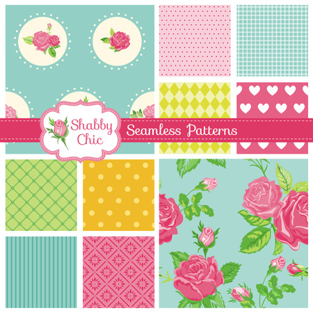 Set of Seamless Patterns and Backgrounds - Floral Shabby Chic Theme Illustration