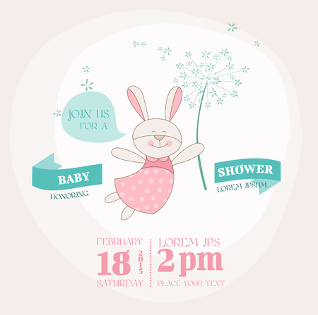 girl sleep: Baby Shower or Arrival Card - Baby Bunny with Flower Illustration