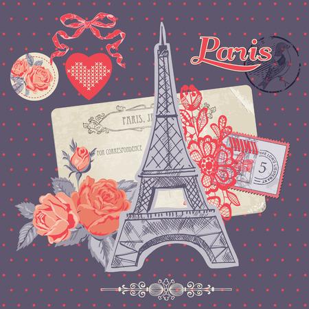 paris vintage: Elementos de diseño del libro de recuerdos - Tarjeta Paris Vintage con sellos Vectores
