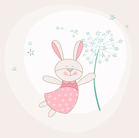 baby arrival: Baby Shower or Arrival Card - Baby Bunny with Flower Illustration