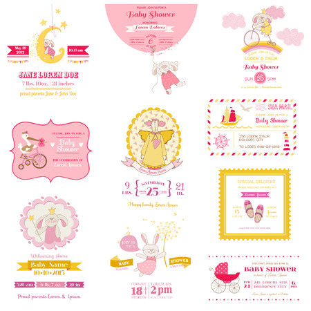 baby sleeping: Set of Baby Shower and Arrival Cards - for design and scrapbook - in vector