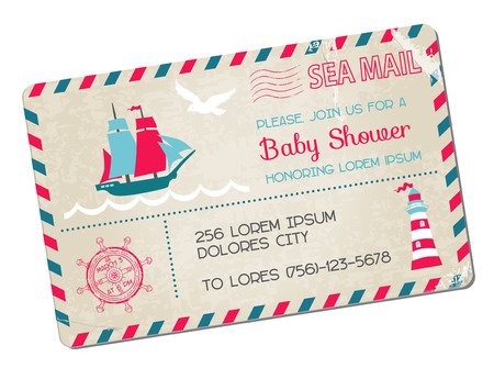 welcome party: Baby Shower or Arrival Postcard - Nautical Sea Theme Illustration