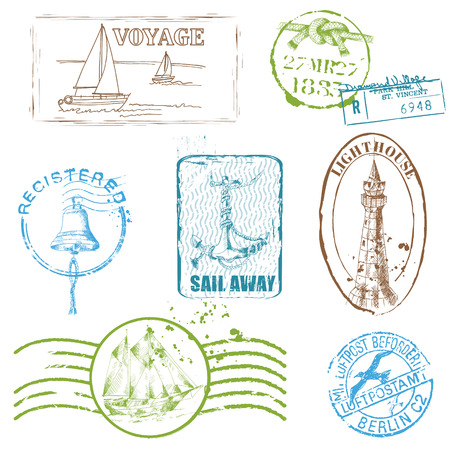 Set of Retro SEA stamps Vector