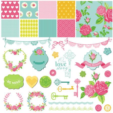 スクラップ ブック デザイン要素 - 花のぼろぼろのシックな主題