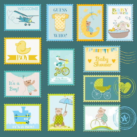 baby duck: Baby Shower or Arrival Postage Stamps