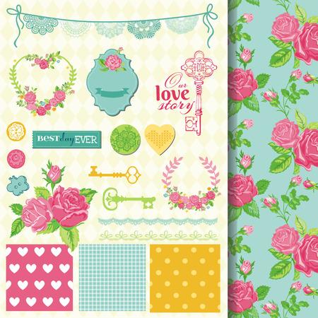 garden key: Scrapbook Design Elements - Floral Shabby Chic Theme