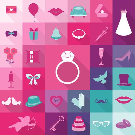 bells: Set of Wedding Vintage Elements - for invitation, web, photo booth, design - in vector Illustration