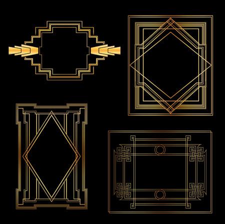アールデコ ヴィンテージ フレームとデザイン要素  イラスト・ベクター素材