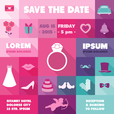 Wedding Invitation Card - with Wedding Icons - Save the Date  Vector
