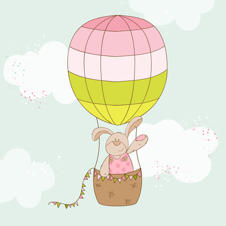 baby arrival: Baby Shower or Arrival Card - Baby Bunny with Air Balloon Illustration