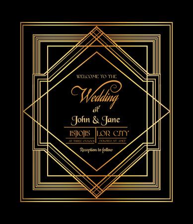 Hochzeits-Einladung - Art Deco & Gatsby Style - sparen Sie das Datum