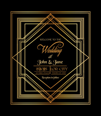 filigree swirl: Wedding Invitation Card - Art Deco & Gatsby Style - save the date