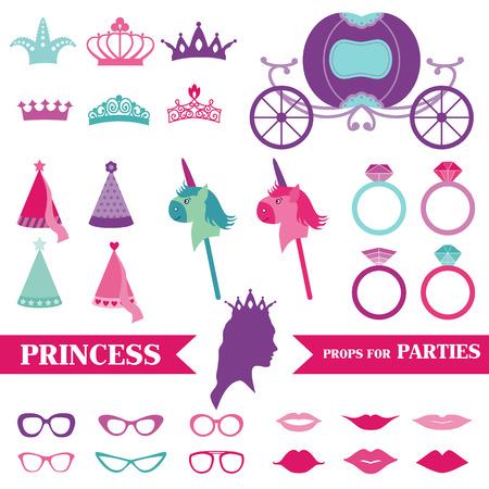 Princess Party - Juego de accesorios Photobooth - coronas, anillos, anteojos