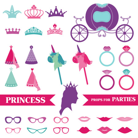 princess crown: Princess Party set - photobooth props - crown, rings, glasses