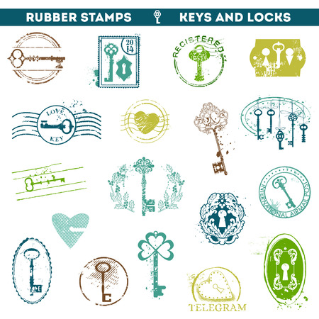 Set of Rubber Stamps - Antique Keys and Locks - for your design or scrapboo  Vector