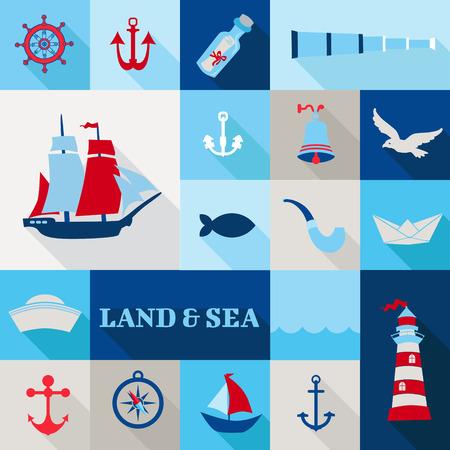 brig ship: Set of Nautical Vintage Elements Illustration