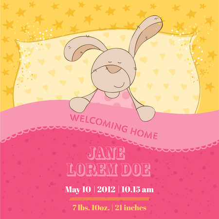 scrap paper: Baby Shower or Arrival Card of Sleeping Bunny