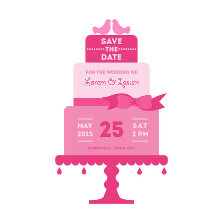 cake paper: Save the Date - Wedding Card with Cake - with place for your text - in vector