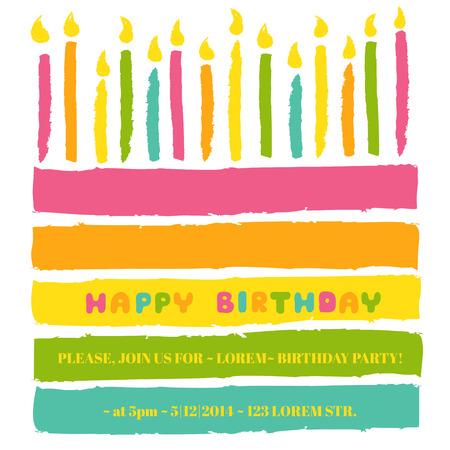 Gelukkige verjaardag en de Partij van de Uitnodiging Stock Illustratie