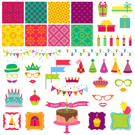 Scrapbook Design Elements - Happy Birthday and Party Set Vector