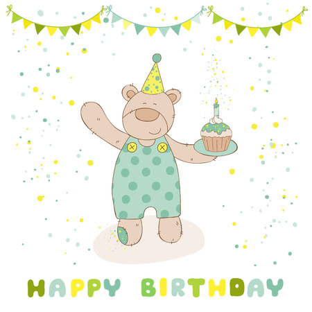 baby arrival: Happy Birthday and Party Card - Baby Bear and Birthday Cake - in vector